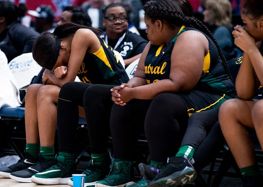 Central-Hayneville's Derrica McCall (30) as time runs out against Cold Springs during the AHSAA Finals at Legacy Arena in Birmingham, Ala., on Monday February 24, 2020.