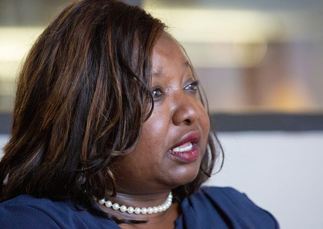 Phyllis Harvey-Hall, a candidate for the 2nd congressional district, shares her platform during an interview.