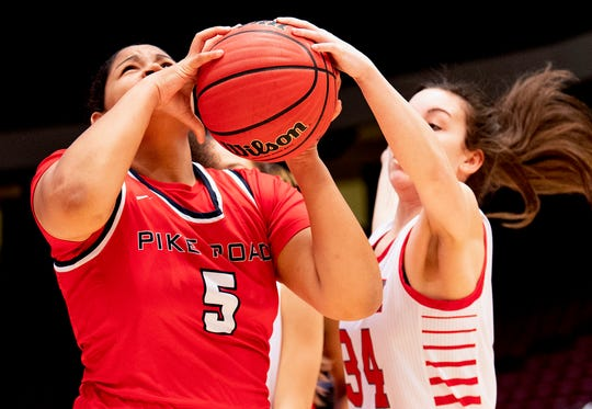 Pike Road's Sakoya Knight is defended by Pisgah's Chloe Womack during the AHSAA Finals at Legacy Arena in Birmingham, Ala., on Tuesday February 25, 2020.