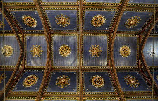 The stenciled ceiling of the nave at St. John's Episcopal Church in downtown Montgomery.