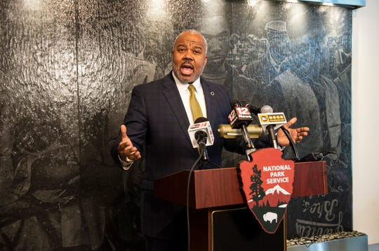 ASU President Dr. Quinton T. Ross Jr. speaks during a press conference for the opening of Montgomery Interpretive Center on the Alabama State campus in Montgomery, Ala., on Tuesday, Feb. 25, 2020.