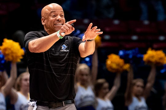 Montgomery Catholic coach Michael Curry coaches against Talladega during the AHSAA Finals at Legacy Arena in Birmingham, Ala., on Tuesday February 25, 2020.