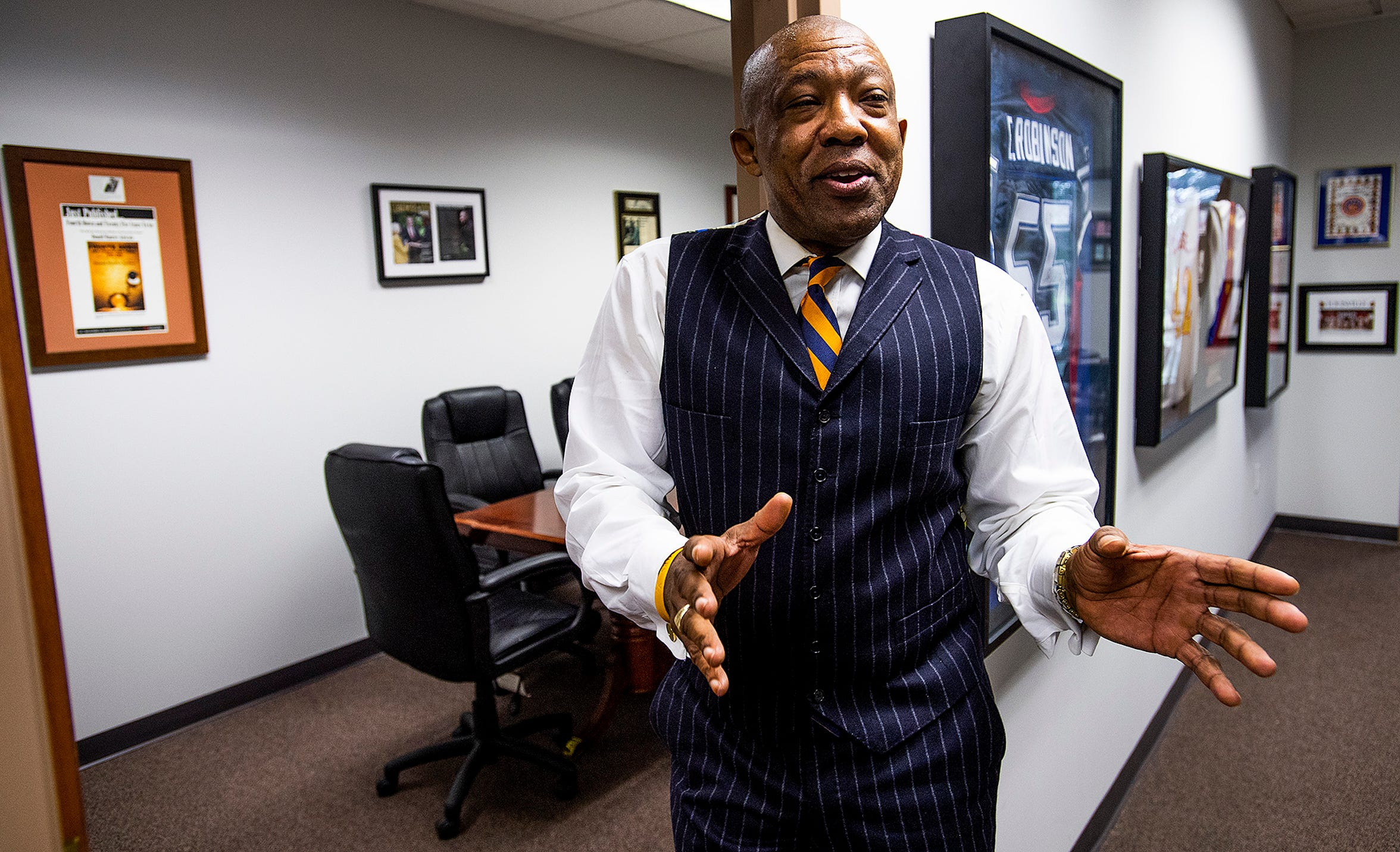 Don Jackson talks about his experiences as a sports attorney at his offices in Montgomery, Ala., on Monday February 24, 2020.