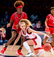 Pisgah's Madison Myers tries to control the ball against Pike Road's Aaliyah Manora during the AHSAA Finals at Legacy Arena in Birmingham, Ala., on Tuesday February 25, 2020.
