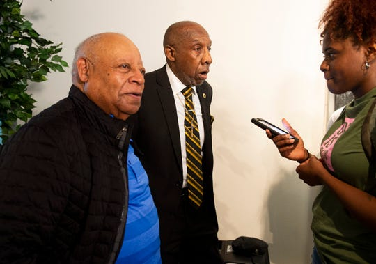 ASU Alumni and civil rights activists St. John Dixon, left, and James McFadden are interviewed during a press conference for the opening of the Montgomery Interpretive Center on the Alabama State campus in Montgomery, Ala., on Tuesday, Feb. 25, 2020. Dixon and McFadden, then ASU students, were part of a 1960 sit-in at the Montgomery County Courthouse lunch counter.
