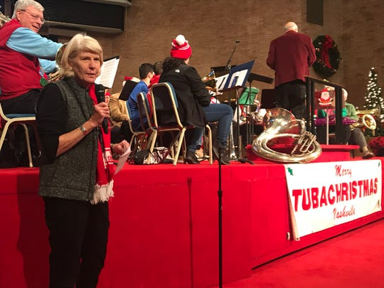 Ms. Cheap columnist Mary Hance speaks about the Penny Drive at Merry Tuba Christmas at First Baptist Church on Dec. 10, 2019.