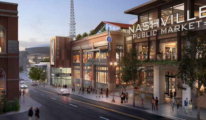Renderings show the final design for Fifth and Broadway, a large mixed-use development at one of downtown Nashville's most prominent corners. The finished Fifth and Broadway will be home to restaurants and retail, office space and residential units, as well as the National Museum for African American Music.