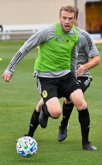 Tanner Dieterich fights for the ball as Nashville SC opened up a training session to the media during their inaugural season in Brentwood, Tenn. Tuesday, Feb. 25, 2020.