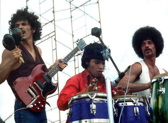 Santana on stage at the Woodstock festival in 1969.  Courtesy of Warner Bros. Santana on stage at the Woodstock festival in 1969.