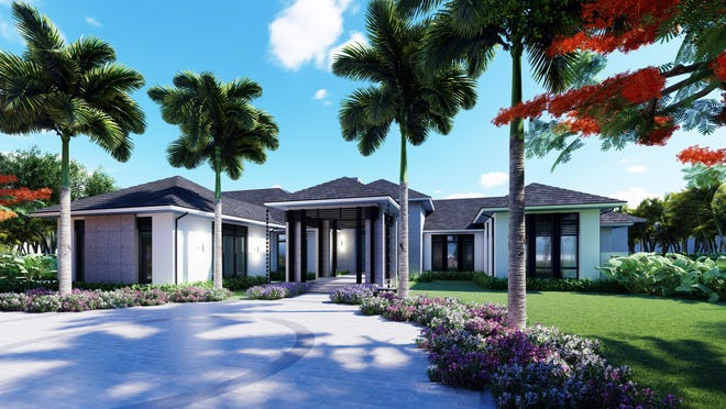An artists' rendering of Diamond Custom Homes' new custom estate, currently under construction in Grey Oaks.
