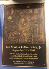 A plaque in the Montclair High School music room commemorates a little-known visit Dr. Martin Luther King, Jr. paid to the school in 1966.