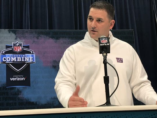 New York Giants coach Joe Judge speaks with the media Tuesday at the NFL's scouting combine in Indianapolis.