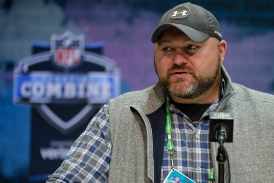 New York Jets general manager Joe Douglas speaks during a press conference at the NFL football scouting combine in Indianapolis, Tuesday, Feb. 25, 2020. (AP Photo/Michael Conroy)