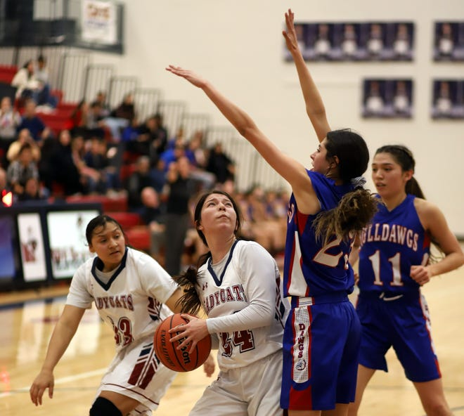 Senior Brooke Huerta (24) had a big night scoring for the Lady Wildcats. The 5-foot-6 wing dropped a career-high 22 points, including four baskets from behind the 3-point arch in Deming's 48-38 win over Las Cruces High on Monday.