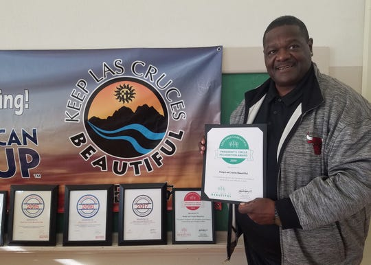 James Woods, Keep Las Cruces Beautiful Coordinator, poses with the President's Circle Recognition Award. The award was presented to Woods on Feb. 12, 2020 during the Keep America Beautiful national conference, in Memphis, Tennessee. This is the fifth consecutive year Keep Las Cruces Beautiful has won the award.