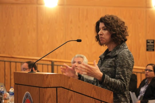 Doña Ana County Health and Human Services Director Jamie Michael speaks about the County Crisis Triage Center at a County Commission meeting Feb. 25, 2020.
