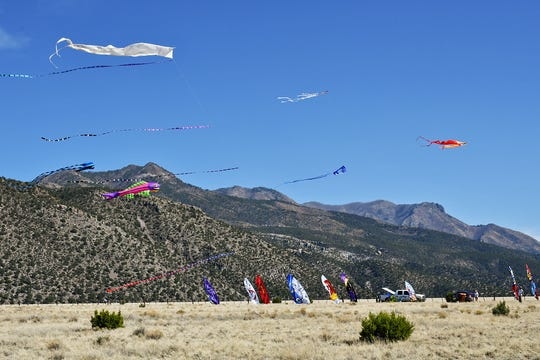 Kites of all shapes and sizes fly at the annual Whitewater Mesa Kite Picnic every April.