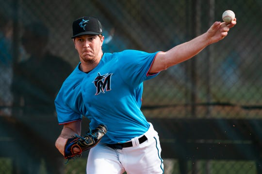 Miami Marlins pitcher Trevor Rogers throws during a Spring Training workout at Roger Dean Chevrolet Stadium in Jupiter, Florida on February 14, 2020. On Feb. 24, Rogers pitched one relief inning against St. Louis and recorded a win for the Marlins.