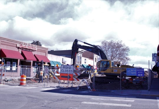 Crews work on the Complete Streets project, Tuesday, Feb. 25, 2020, in downtown Farmington. The city could receive more than $300,000 in capital outlay funding for security cameras for the downtown area and parks.