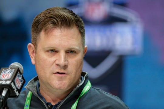 Green Bay Packers general manager Brian Gutekunst speaks during a news conference at the NFL scouting combine in Indianapolis, Tuesday, Feb. 25, 2020.