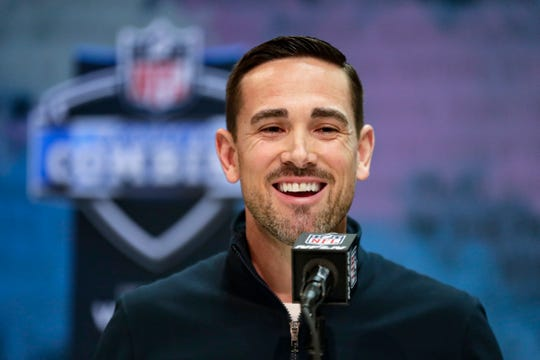 Packers coach Matt LaFleur speaks during a news conference at the NFL scouting combine in Indianapolis, Tuesday, Feb. 25, 2020.
