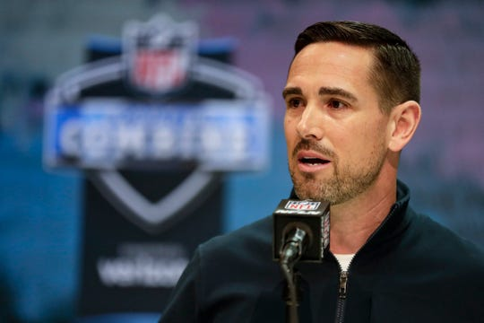 Packers head coach Matt LaFleur speaks during a news conference at the NFL scouting combine in Indianapolis, Tuesday, Feb. 25, 2020.