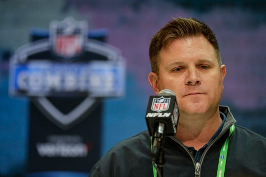 Packers general manager Brian Gutekunst speaks during a news conference at the NFL scouting combine in Indianapolis, Tuesday, Feb. 25, 2020.