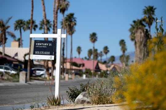 A home is for sale on Panorama Road near Horizon Road in Cathedral City, Calif., on February 25, 2020. The city is soon to release its short-term vacation rental survey results.