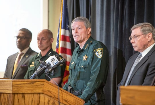 Sheriff David Morgan speaks during a press conference calling for community assistance in addressing the recent increase in gun violence at the Escambia County Sheriff Office in Pensacola on Tuesday, Feb. 25, 2020.