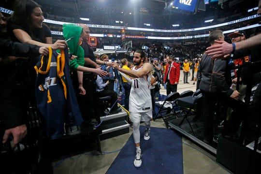 Phoenix Suns guard Ricky Rubio (11) walks off the court following their NBA basketball game against the Utah Jazz Monday, Feb. 24, 2020, in Salt Lake City. (AP Photo/Rick Bowmer)
