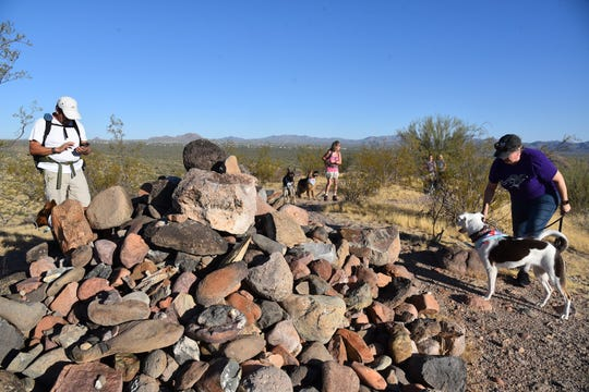 A rock stack marks the summit of Lousley Hill in McDowell Mountain Regional Park.