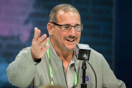 Feb 25, 2020; Indianapolis, Indiana, USA; New York Giants general manager Dave Gettleman speaks to the media during the 2020 NFL Combine in the Indianapolis Convention Center. Mandatory Credit: Trevor Ruszkowski-USA TODAY Sports