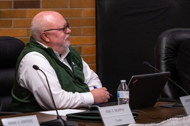 PHASD Board of Education treasurer Joe Bixler, photographed at a board meeting Monday, Feb. 24, 2020.
