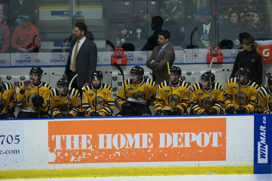 The Port Huron Yeti picked Sarnia Sting assistant coach Brad Staubitz (middle) in the sixth round of the National Roller Hockey League draft on Saturday.