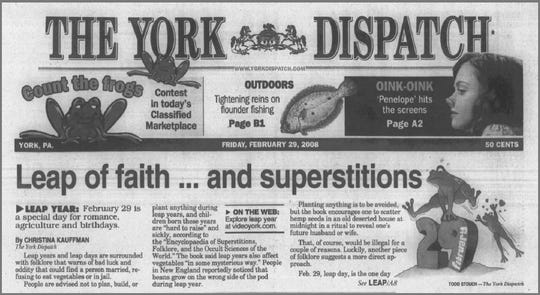 This newspaper clipping from The York Dispatch on Feb. 29, 2008 shows a leap day article discussing myths and superstitions about the special day.