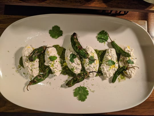 Burrata and shishito peppers with chimichurri at Revelry in Hershey. Reverly opened in Jan. 2020 inside the former site of Forebay at the Hershey Lodge.