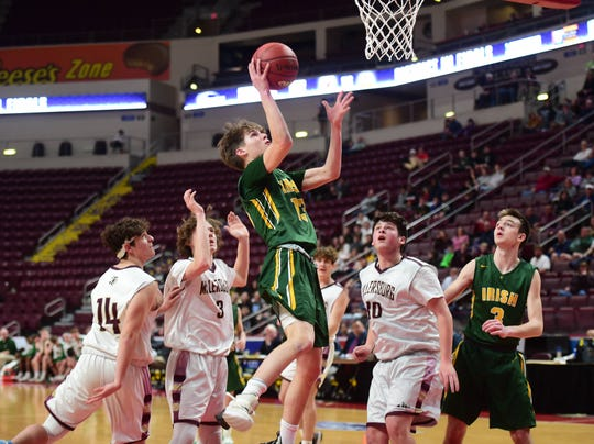 York Catholic freshmen Luke Forjan led the Irish with 12 points in a 47-46 victory over Millersburg in the District 3 Class 2A championship game at the Giant Center Monday.