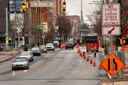 Looking south on North George Street, traffic narrows down to one lane at Arch Street for road construction. Crews have been replacing a water main.
