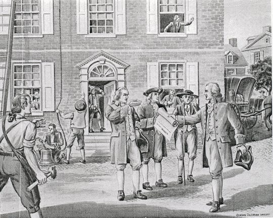 James Smith arrived from Philadelphia with a copy of the Declaration of Independence, July 8, 1776. While the town crier spread the news, Archibald McLean hung York's Liberty Bell in the steeple of the Colonial Courthouse.