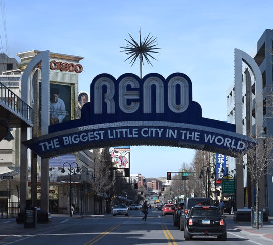 The Reno Arch in downtown Reno, Nevada Feb. 25, 2020.