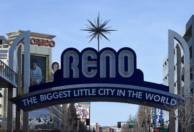 The Reno Arch in downtown Reno Feb. 25, 2020