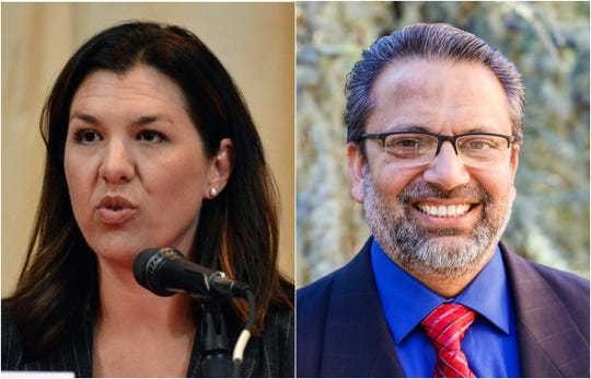 Two candidates in the race to represent California's 1st Assembly District are drawing attack ads on television: Republican Assemblywoman Megan Dahle (left) and Redding doctor Paul Dhanuka.