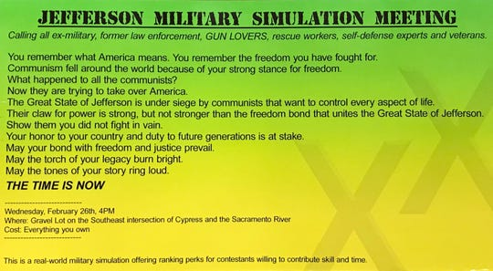 Mailer sent to some Shasta County addresses announced a Jefferson Military Simulation Meeting on Wednesday  in Redding.