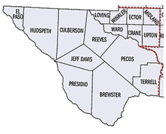 The 16 counties surveyed were: Brewster, Crane, Culberson, El Paso, Ector, Hudspeth, Jeff Davis, Loving, Midland, Pecos, Presidio, Reeves, Terrell, Upton, Ward and Winkler.