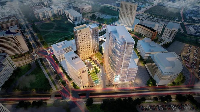 A rendering of the medical complex proposed by Texas A&M University System. The buildings would house medical students and Texas A&M's Medical Engineering program.