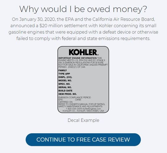 A screenshot of the Bursor & Fisher website inviting owners of products with Kohler engines to provide their information for a possible lawsuit.