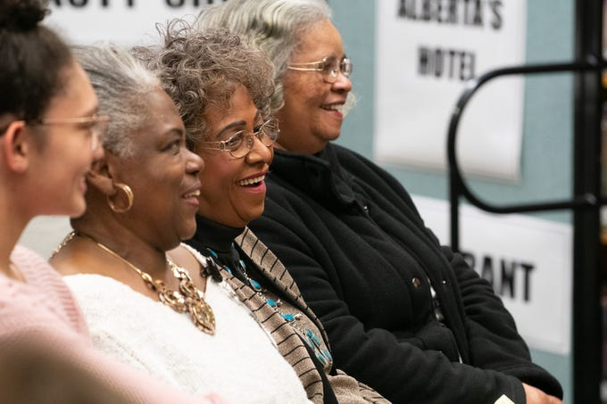 Gwen Marshall, Betty Ransom and Norma Bland Duncan, from left, three prominent Springfield African American women, talked about local history at Pershing Middle School's Black History & Culture Celebration on Monday, Feb. 24, 2020.