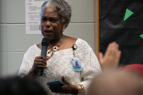 Gwen Marshall speaks at Pershing Middle School's Black History & Culture Celebration on Monday, Feb. 24, 2020.