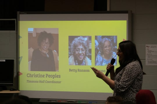 Heather Freeman, a seventh-grade social studies teacher, speaks at Pershing Middle School's Black History & Culture Celebration on Monday, Feb. 24, 2020.