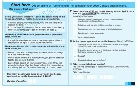 A sample questionnaire shows the questions on the 2020 Census — but people will be able to fill out the form online or by phone, too.